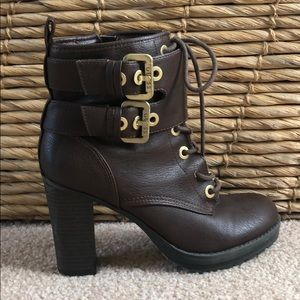 Guess brown ankle boots with gold accents